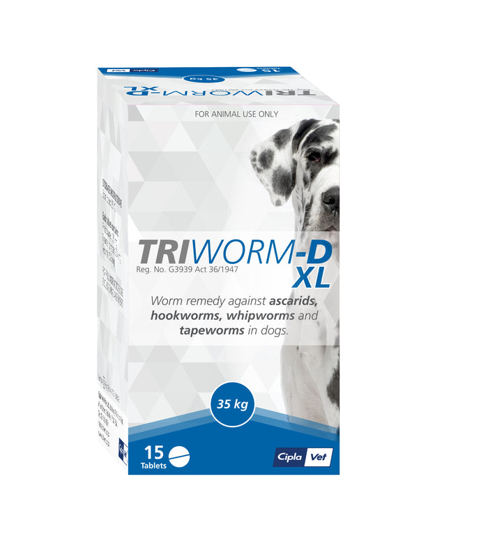 Triworm-D XL (per single tablet) covers up to 35kg - The Vet Store Online