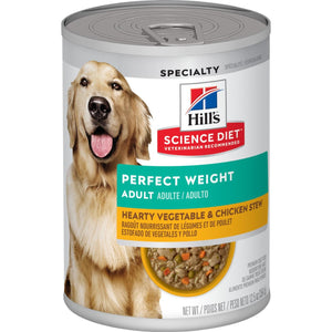 Hill's® Science Diet® Adult Perfect Weight Hearty Vegetable & Chicken Stew dog food Tin 354g - The Vet Store Online