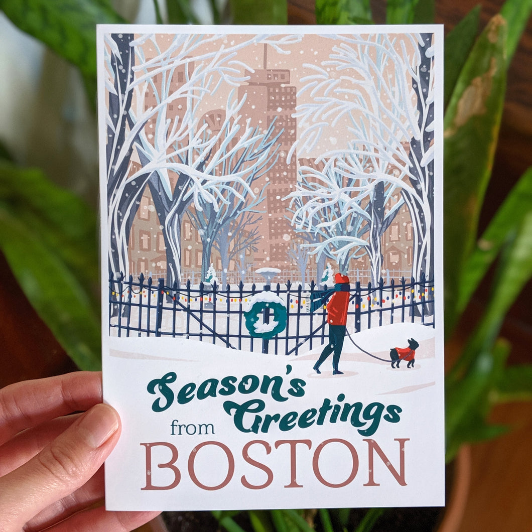Season's Greetings from Boston Greeting Card
