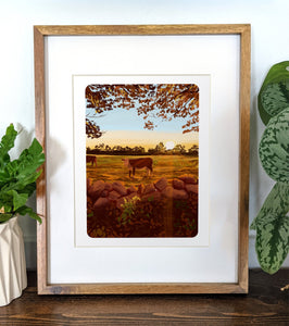 Cow Pasture, 8x10 Framed Art Print - Kat Maus Haus
