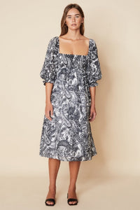 FAITHFULL THE BRAND MOIRA MIDI DRESS