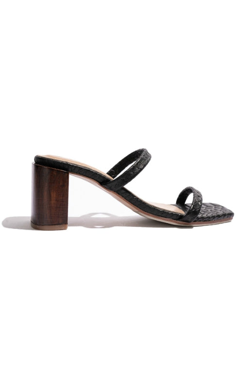 JAMES SMITH SIRENUSE LEATHER STRAP SANDAL BLACK