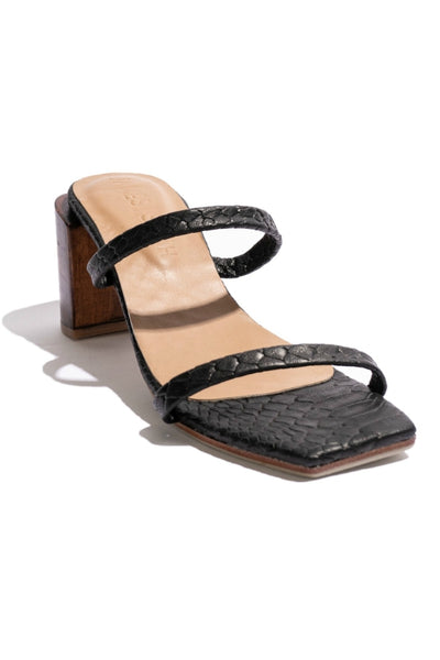 JAMES SMITH SIRENUSE LEATHER STRAP SANDAL WOODEN HEEL BLACK