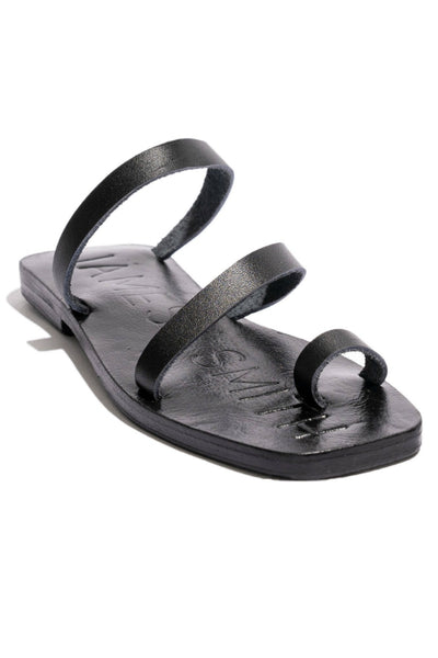 JAMES SMITH CARO SLIDE BLACK LEATHER