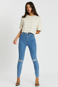 LEE JEANS HIGH LICKS CROP WORN BEAUTY