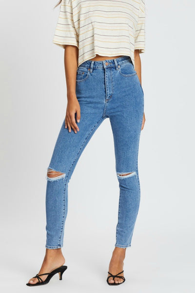 LEE JEANS HIGH LICKS CROP WORN BEAUTY RIPPED SKINNY JEANS