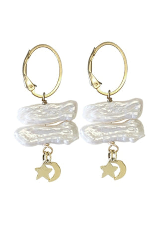 MISUZI LUNA PEARL AND CHARM EARRINGS