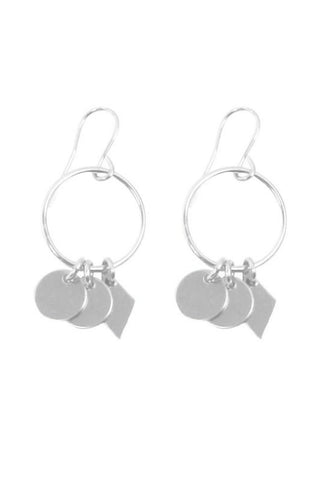 MISUZI MINI EARRINGS WITH CHARMS STERLING SILVER