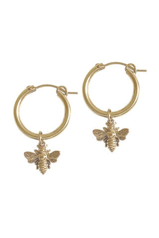 MISUZI PARIS HOOP BEE CHARM GOLD