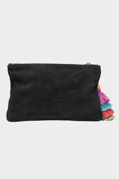 THE WOLF GANG SUEDE BEDOUIN CLUTCH BLACK NOIR