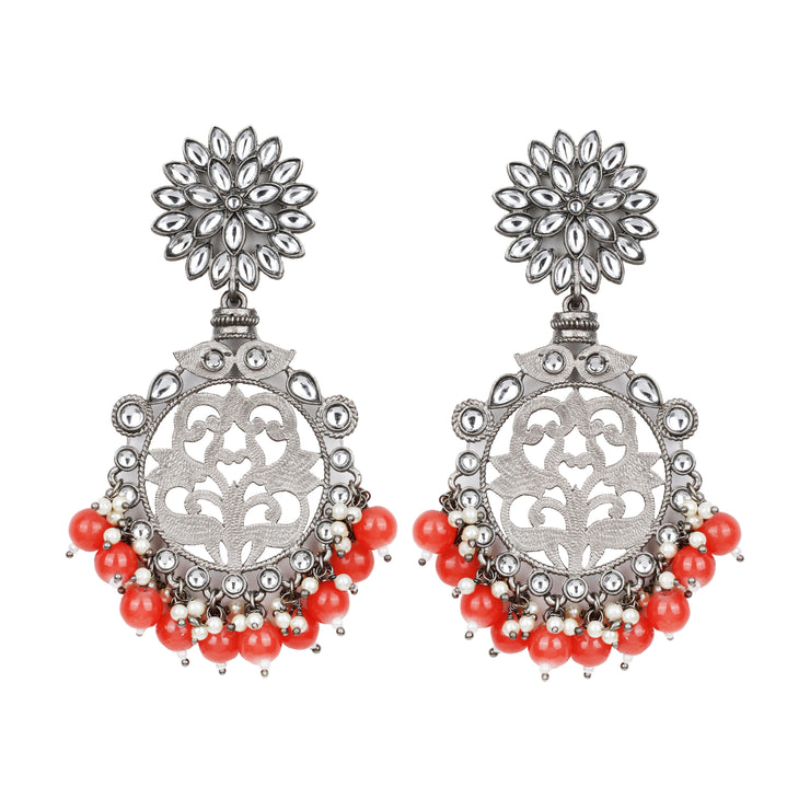 Red Mandal Earrings - Design # 7032