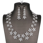 Floral Crystal Themed Necklace Complete Set #8031