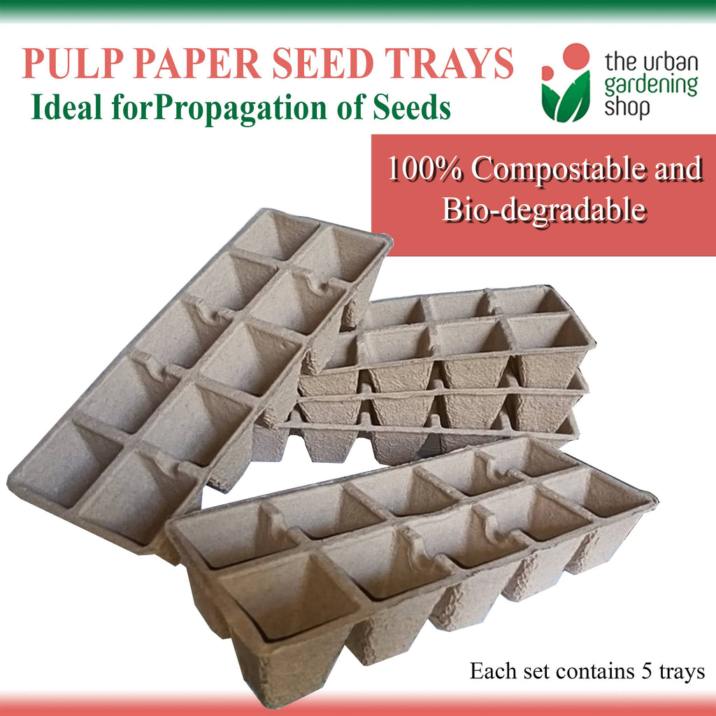 5-PCS PULP PAPER TRAY FOR SEED STARTING  Environment-friendly and Bio-degradable