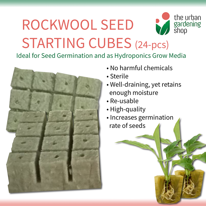 24 - pcs ROCKWOOL SEED STARTING CUBES – For Seed Germination and as Hydroponics Growing Media