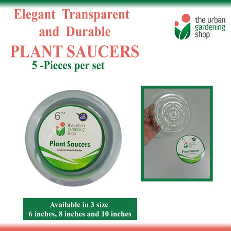 TRANSPARENT PLANT SAUCERS (5-pcs per set - new packaging)  Elegant-looking Clear Round Plastic Plant Saucers