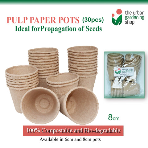 30-PCS PULP PAPER POTS FOR SEED STARTING  Environment-friendly and Bio-degradable