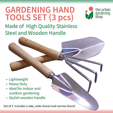 3-pcs STAINLESS STEEL HAND TOOLS SET FOR GARDENING PURPOSES