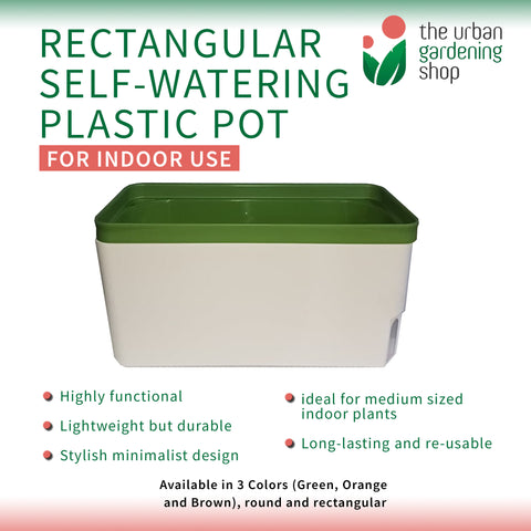 RECTANGULAR SELF- WATERING PLASTIC POTS - BUY 2 GET 10% Off