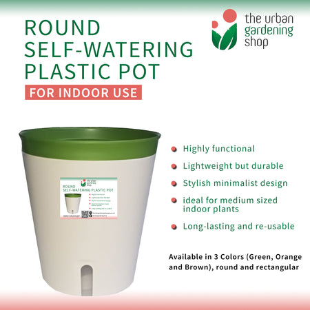 ROUND SELF- WATERING PLASTIC POTS  (Buy 2 Get 10% Off)