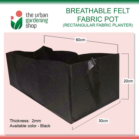 BREATHABLE RECTANGULAR FABRIC PLANTER  60cm x 20cm x 30cm