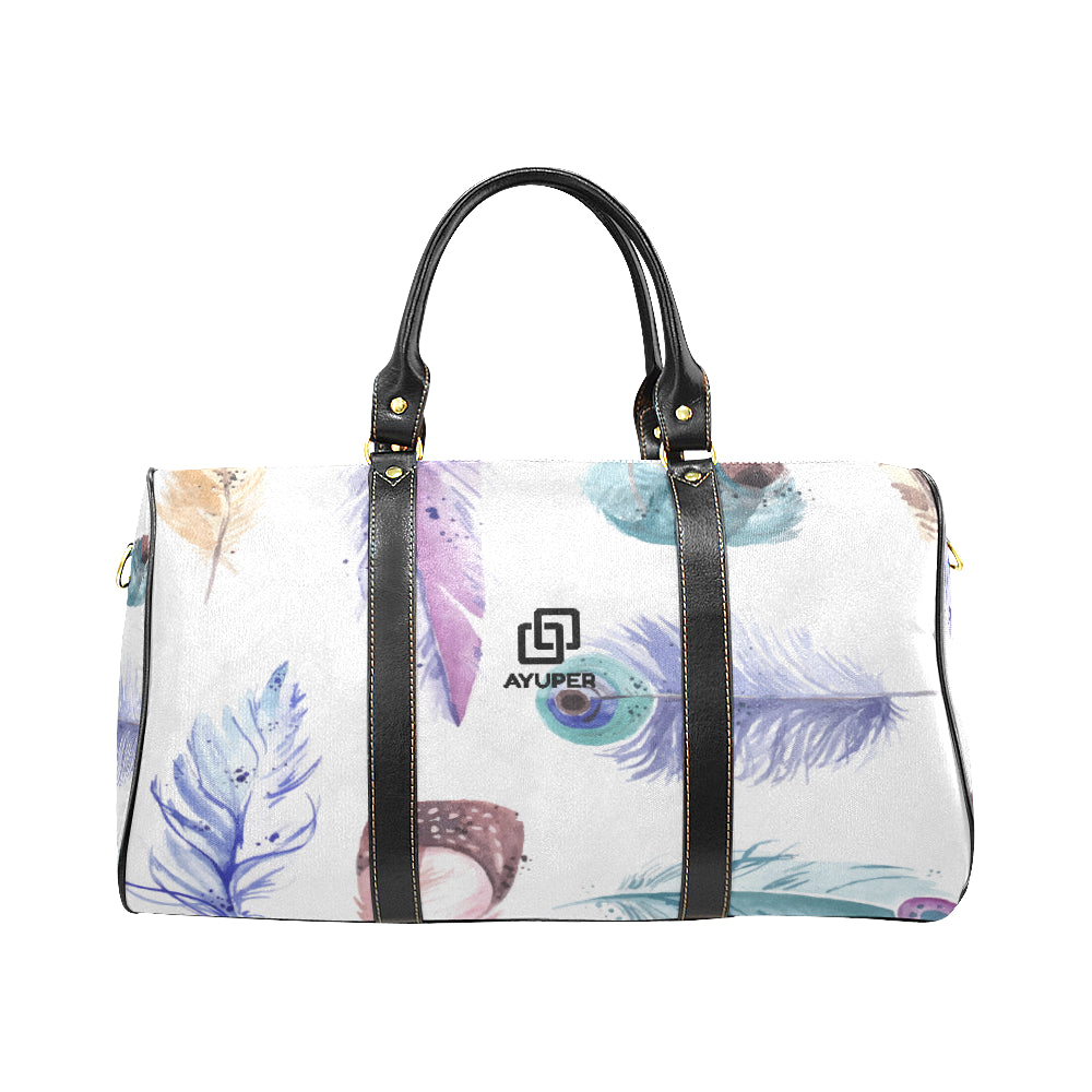 Watercolour Feathers Waterproof Travel Bag - Ayuper