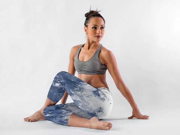 1ac8ef439e Blue Splash Watercolour Yoga Capri Leggings - Ayuper