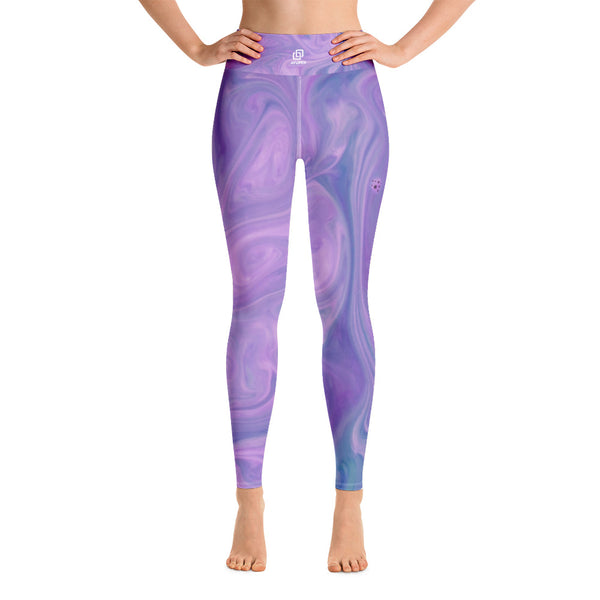 Pink Lavender Liquified Yoga Leggings - Ayuper