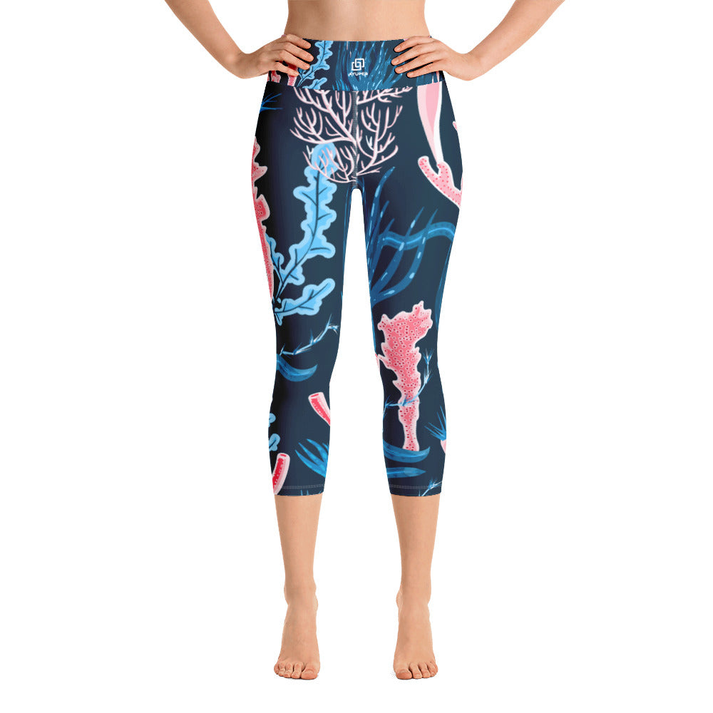 Blue Pink Corals Yoga Capri Leggings - Ayuper
