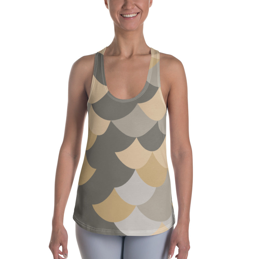 Yellow Fish Skin Women's Racerback Tank - Ayuper