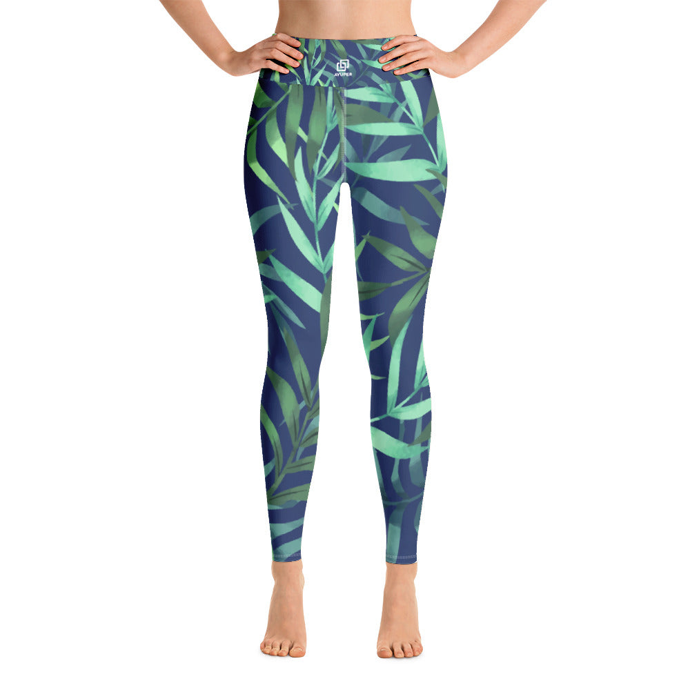 Elegant Tropical Leafs Yoga Leggings - Ayuper