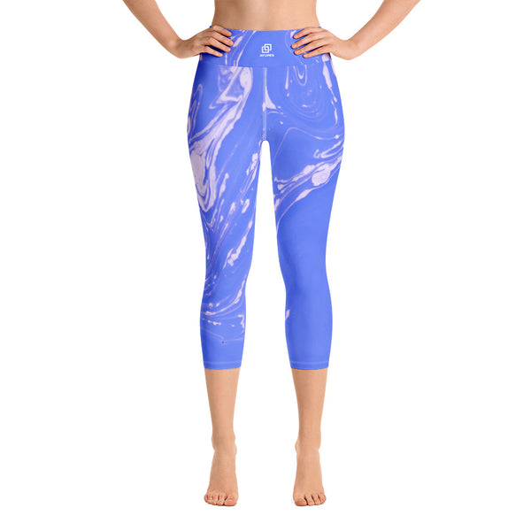 Blueish Marble Yoga Capri Leggings - Ayuper