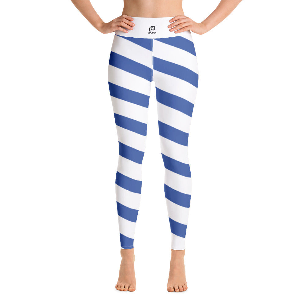 ca144c1ba3 Diagonal Blue Lines Yoga Leggings - Ayuper