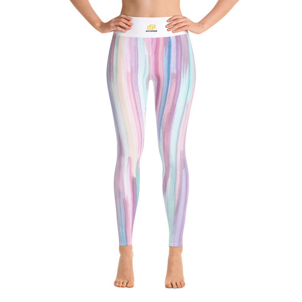 9d8bce9b6a Colourful Vertical Abstract Shapes Yoga Leggings - Ayuper
