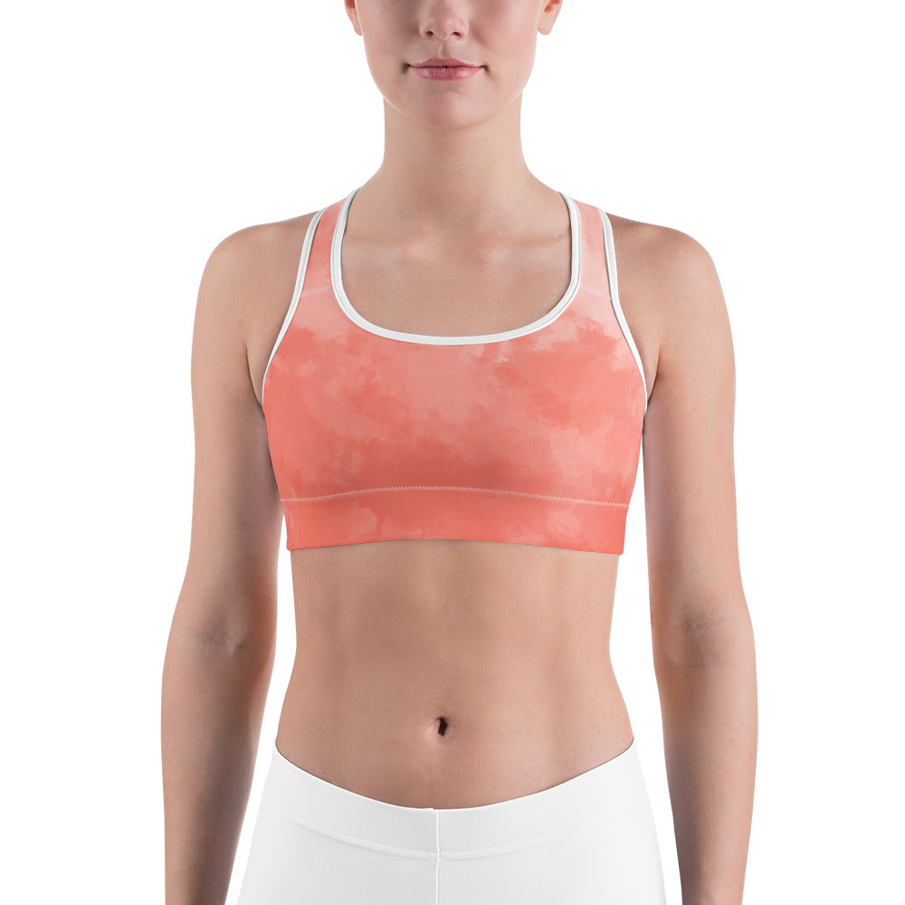 Watercolor Coral Light Red All-Over Print Sports Bra - Ayuper