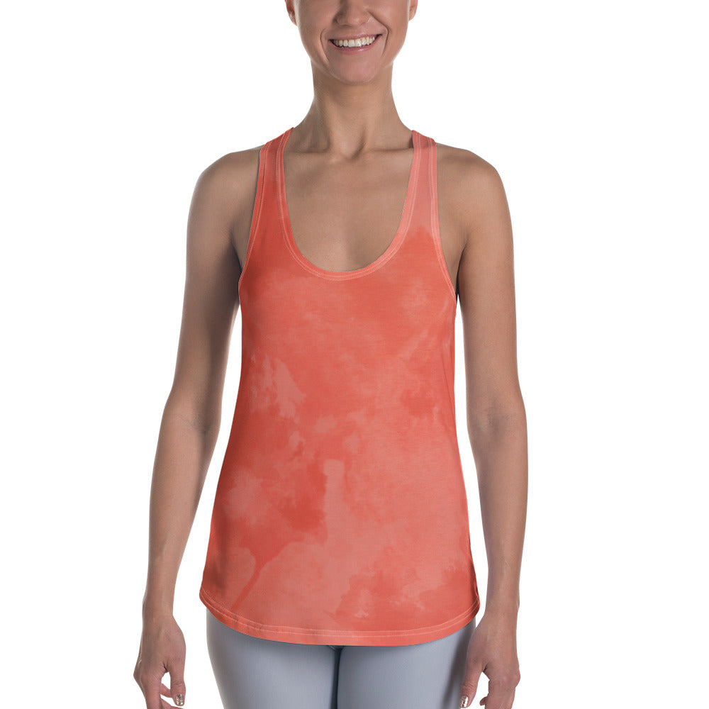Dark Coral Watercolor Women's Racerback Tank - Ayuper