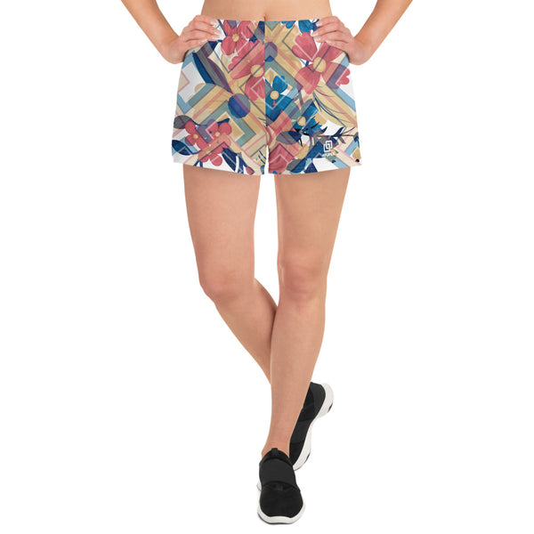 Geometric Spring Flowers Athletic Short Shorts - Ayuper