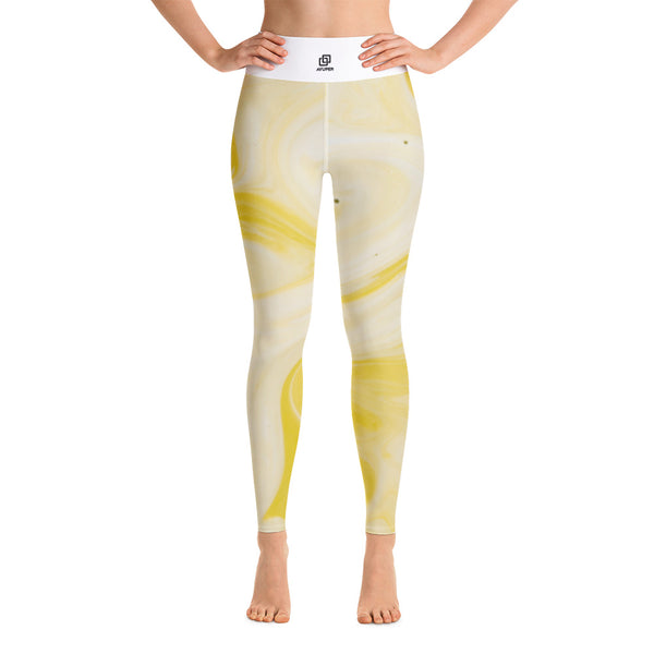Yellow Marble Yoga Leggings - Ayuper