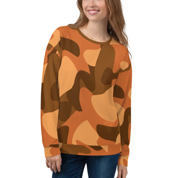 Orange Camouflage Unisex Sweatshirt - Ayuper