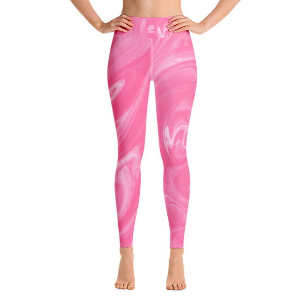 Pink Marble Yoga Leggings - Ayuper