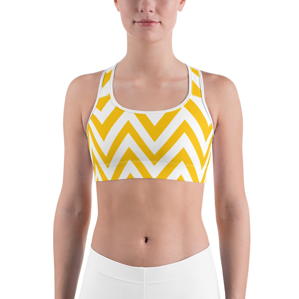 Vertical Yellow Arrows Sports Bra - Ayuper