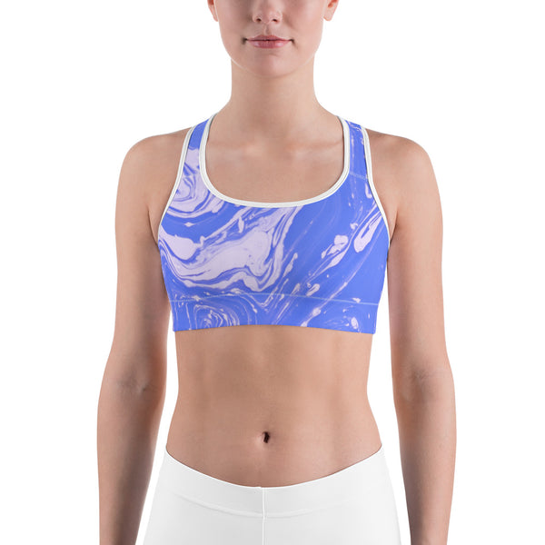 Blueish Marble Sports Bra - Ayuper