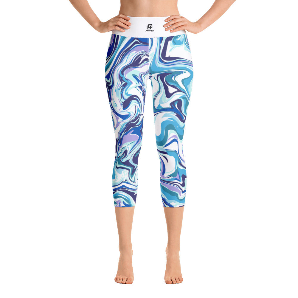 Light Blues Marble Yoga Capri Leggings - Ayuper