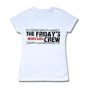 Camiseta manga corta mujer THE FRIDAY'S CREW hemen gara en blanco