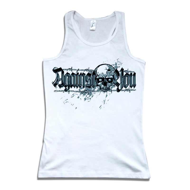 Camiseta tirantes mujer AGAINST YOU calavera blanca