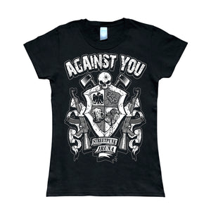 Camiseta manga corta mujer AGAINST YOU escudo metralletas