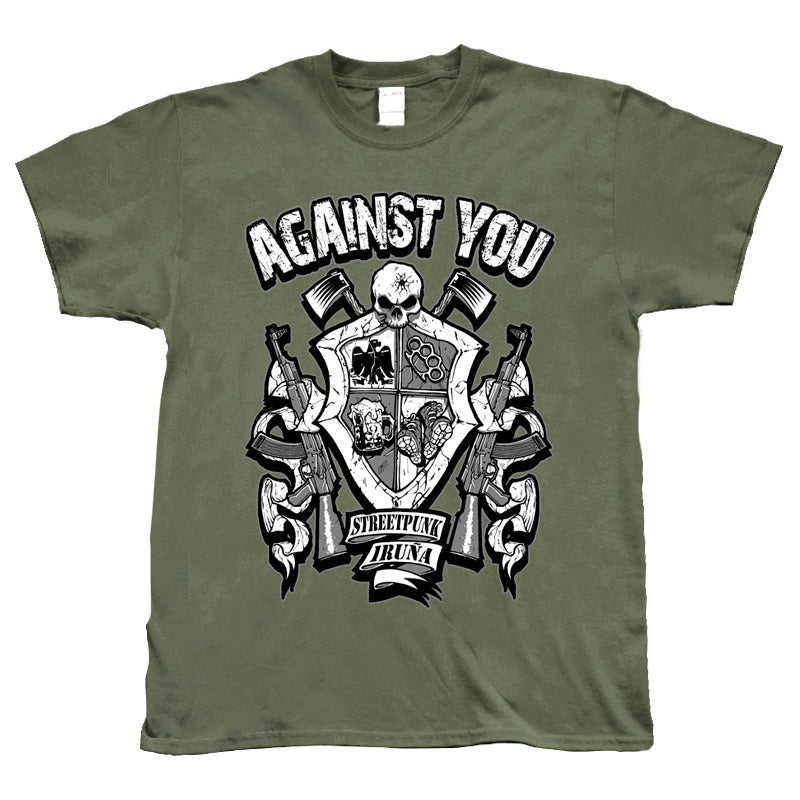Camiseta manga corta hombre AGAINST YOU escudo metralletas verde