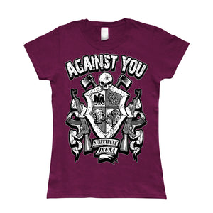 Camiseta manga corta mujer AGAINST YOU escudo metralletas granate