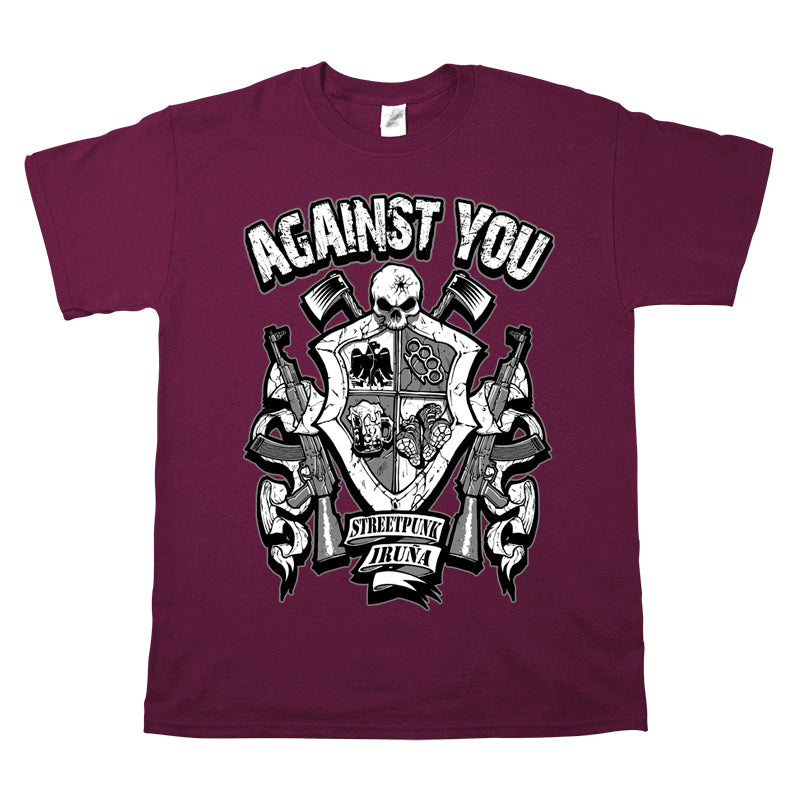 Camiseta manga corta hombre AGAINST YOU escudo metralletas granate