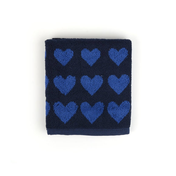Kitchen Towel - Hearts Dark Blue