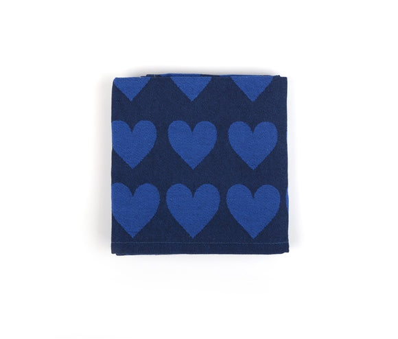 Tea Towel - Hearts Dark Blue